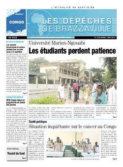 Les Dépêches de Brazzaville : Édition brazzaville du 07 mai 2013