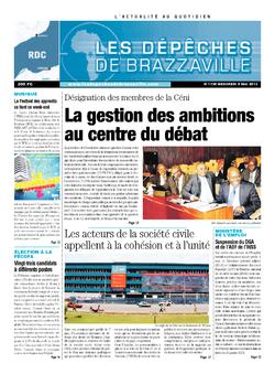Les Dépêches de Brazzaville : Édition kinshasa du 08 mai 2013