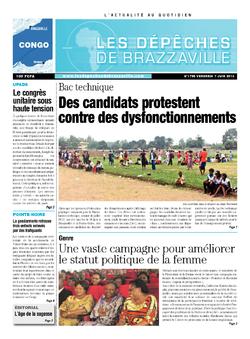 Les Dépêches de Brazzaville : Édition brazzaville du 07 juin 2013