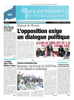 Les Dépêches de Brazzaville : Édition kinshasa du 12 juillet 2013