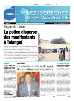 Les Dépêches de Brazzaville : Édition brazzaville du 02 août 2013