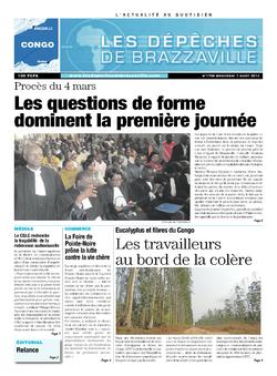 Les Dépêches de Brazzaville : Édition brazzaville du 07 août 2013