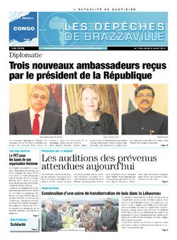 Les Dépêches de Brazzaville : Édition brazzaville du 08 août 2013