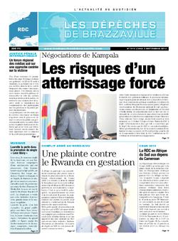 Les Dépêches de Brazzaville : Édition kinshasa du 02 septembre 2013