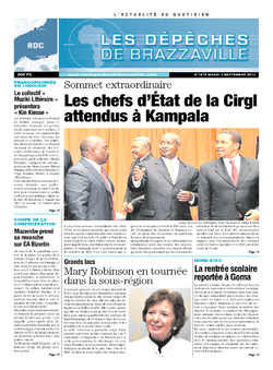 Les Dépêches de Brazzaville : Édition kinshasa du 03 septembre 2013