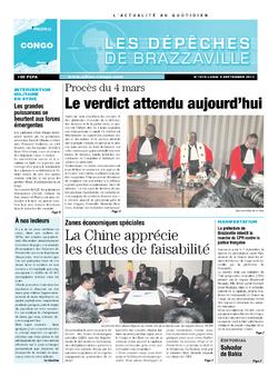 Les Dépêches de Brazzaville : Édition brazzaville du 09 septembre 2013