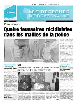 Les Dépêches de Brazzaville : Édition brazzaville du 13 septembre 2013