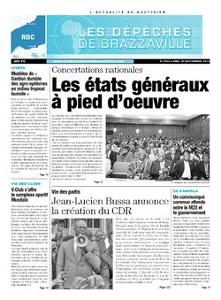 Les Dépêches de Brazzaville : Édition kinshasa du 16 septembre 2013