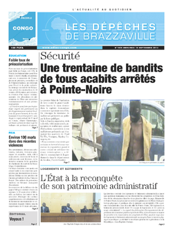 Les Dépêches de Brazzaville : Édition brazzaville du 18 septembre 2013