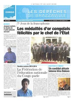 Les Dépêches de Brazzaville : Édition brazzaville du 27 septembre 2013