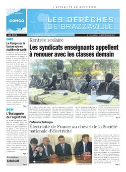 Les Dépêches de Brazzaville : Édition brazzaville du 01 octobre 2013