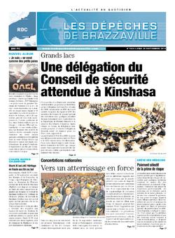 Les Dépêches de Brazzaville : Édition kinshasa du 01 octobre 2013