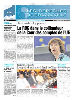 Les Dépêches de Brazzaville : Édition kinshasa du 02 octobre 2013