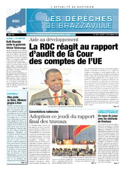 Les Dépêches de Brazzaville : Édition kinshasa du 03 octobre 2013