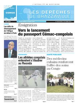 Les Dépêches de Brazzaville : Édition brazzaville du 08 octobre 2013