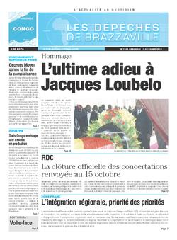 Les Dépêches de Brazzaville : Édition brazzaville du 11 octobre 2013