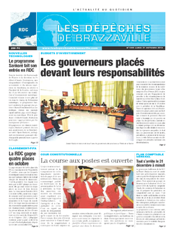 Les Dépêches de Brazzaville : Édition kinshasa du 21 octobre 2013