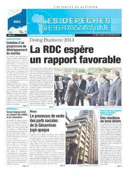 Les Dépêches de Brazzaville : Édition kinshasa du 28 octobre 2013