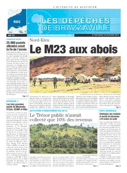 Les Dépêches de Brazzaville : Édition kinshasa du 29 octobre 2013