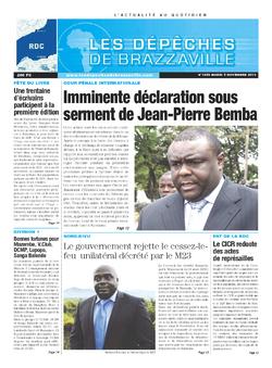 Les Dépêches de Brazzaville : Édition kinshasa du 05 novembre 2013