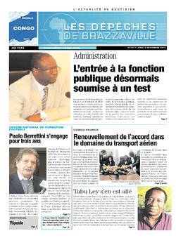 Les Dépêches de Brazzaville : Édition brazzaville du 02 décembre 2013