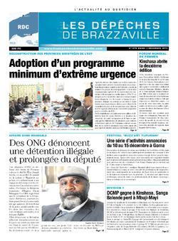 Les Dépêches de Brazzaville : Édition kinshasa du 03 décembre 2013