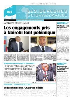 Les Dépêches de Brazzaville : Édition kinshasa du 20 décembre 2013