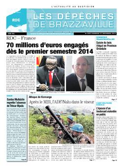 Les Dépêches de Brazzaville : Édition kinshasa du 27 décembre 2013