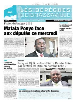 Les Dépêches de Brazzaville : Édition kinshasa du 08 janvier 2014