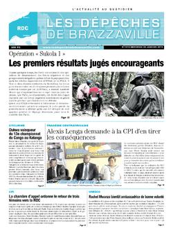 Les Dépêches de Brazzaville : Édition kinshasa du 22 janvier 2014