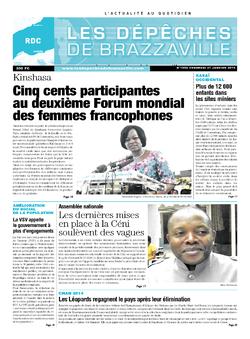 Les Dépêches de Brazzaville : Édition kinshasa du 31 janvier 2014