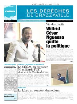 Les Dépêches de Brazzaville : Édition brazzaville du 03 février 2014