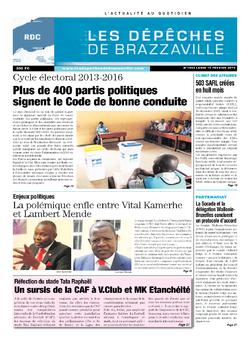 Les Dépêches de Brazzaville : Édition kinshasa du 10 février 2014