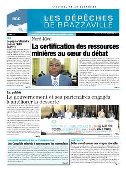 Les Dépêches de Brazzaville : Édition kinshasa du 25 mars 2014