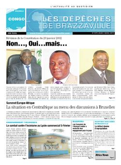 Les Dépêches de Brazzaville : Édition brazzaville du 03 avril 2014