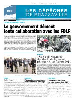 Les Dépêches de Brazzaville : Édition kinshasa du 04 avril 2014