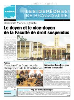 Les Dépêches de Brazzaville : Édition brazzaville du 08 avril 2014