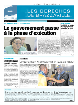 Les Dépêches de Brazzaville : Édition kinshasa du 22 avril 2014