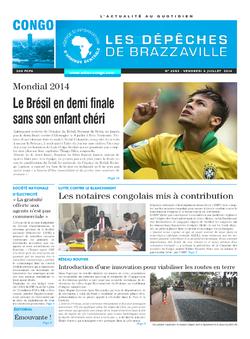 Les Dépêches de Brazzaville : Édition brazzaville du 07 juillet 2014