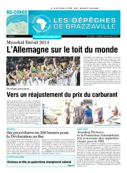 Les Dépêches de Brazzaville : Édition kinshasa du 14 juillet 2014