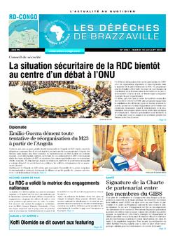 Les Dépêches de Brazzaville : Édition kinshasa du 15 juillet 2014