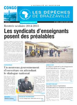 Les Dépêches de Brazzaville : Édition brazzaville du 25 août 2014