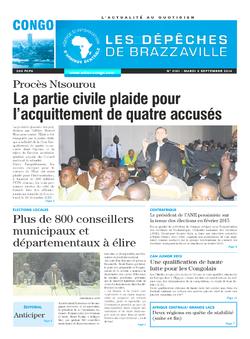 Les Dépêches de Brazzaville : Édition brazzaville du 02 septembre 2014