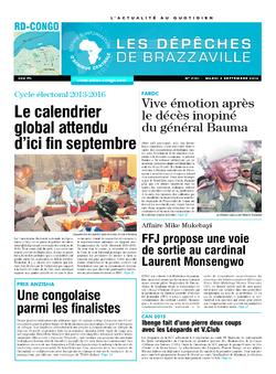 Les Dépêches de Brazzaville : Édition kinshasa du 02 septembre 2014