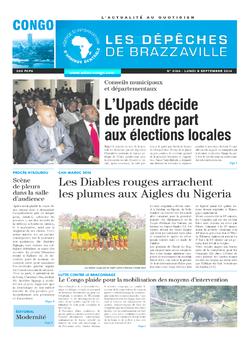 Les Dépêches de Brazzaville : Édition brazzaville du 08 septembre 2014