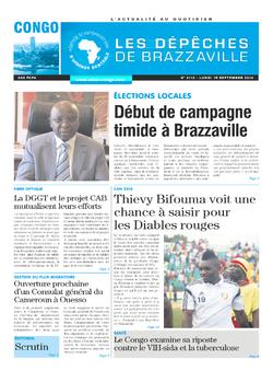 Les Dépêches de Brazzaville : Édition brazzaville du 15 septembre 2014