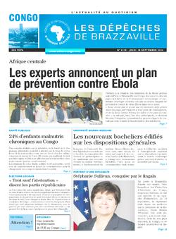 Les Dépêches de Brazzaville : Édition brazzaville du 18 septembre 2014