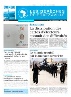 Les Dépêches de Brazzaville : Édition brazzaville du 25 septembre 2014