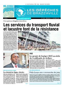 Les Dépêches de Brazzaville : Édition kinshasa du 01 octobre 2014