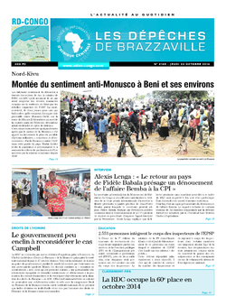Les Dépêches de Brazzaville : Édition kinshasa du 24 octobre 2014
